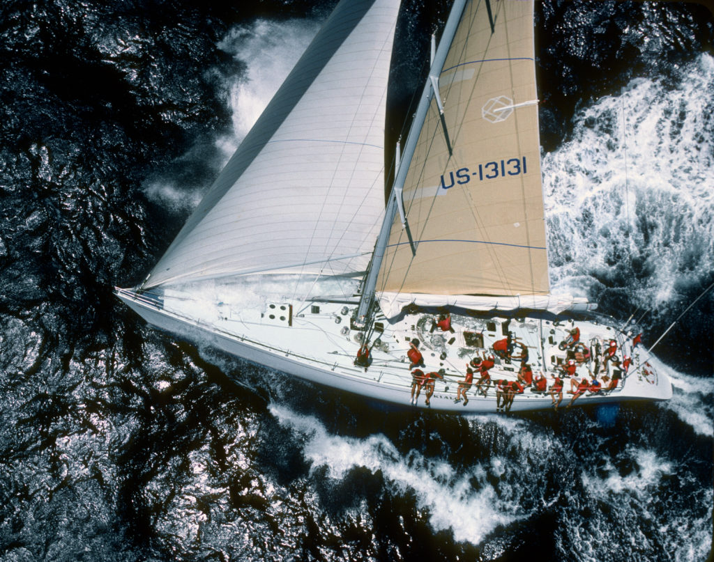 Ron Holland Design sailing yacht Kialoa IV ariel shot of boat during sailing race